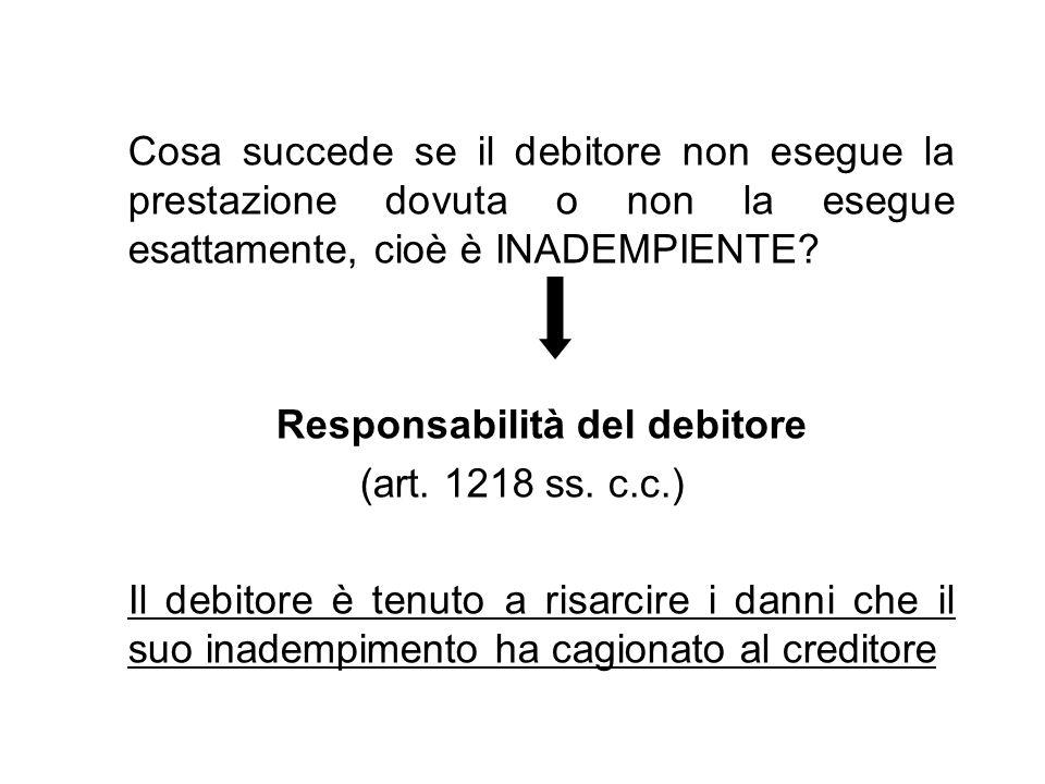 Cosa succede se il debitore non esegue la prestazione dovuta o non la esegue esattamente, cioè è INADEMPIENTE? Responsabilità del debitore (art. 1218