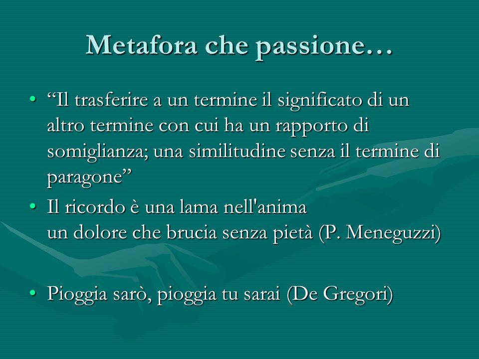Metafora che passione… Il trasferire a un termine il significato di un altro termine con cui ha un rapporto di somiglianza; una similitudine senza il