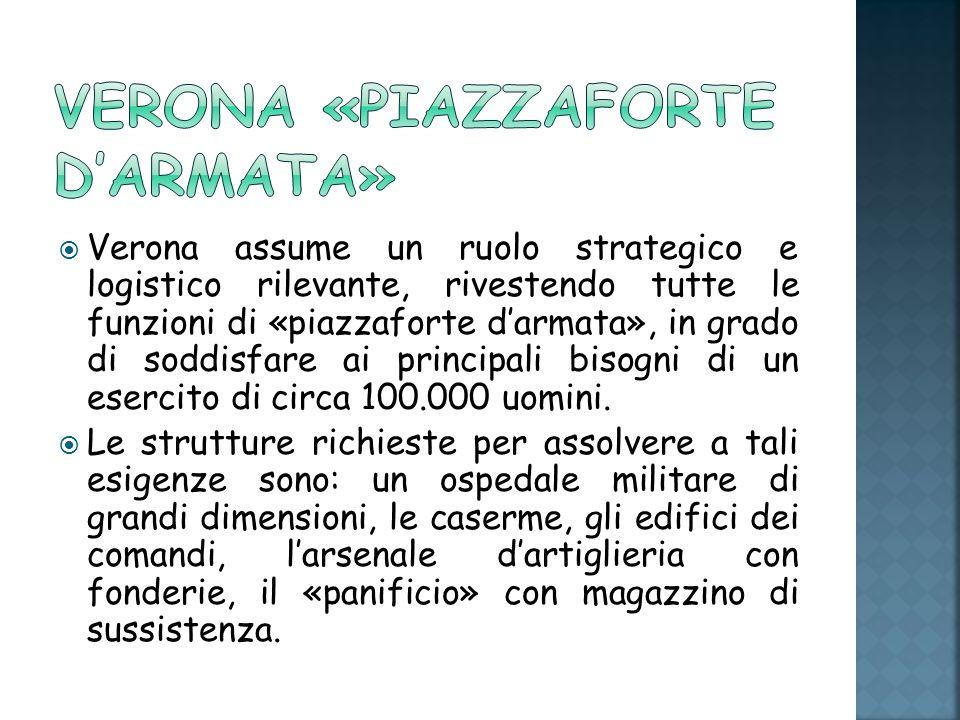 Verona assume un ruolo strategico e logistico rilevante, rivestendo tutte le funzioni di «piazzaforte darmata», in grado di soddisfare ai principali bisogni di un esercito di circa 100.000 uomini.