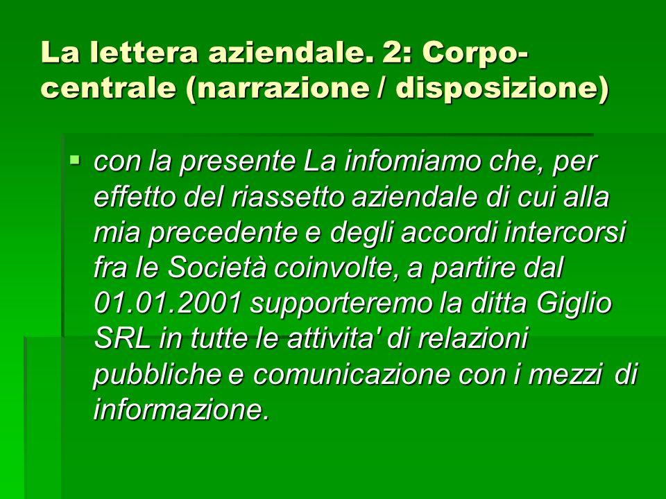 La lettera aziendale.
