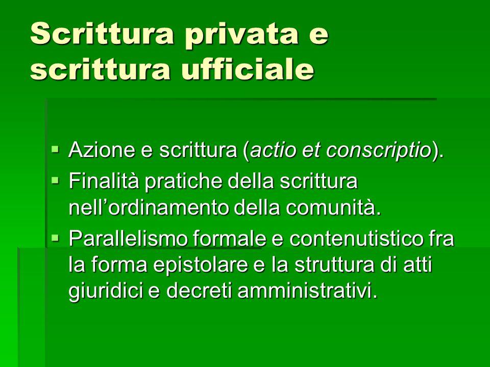 Scrittura privata e scrittura ufficiale Azione e scrittura (actio et conscriptio).