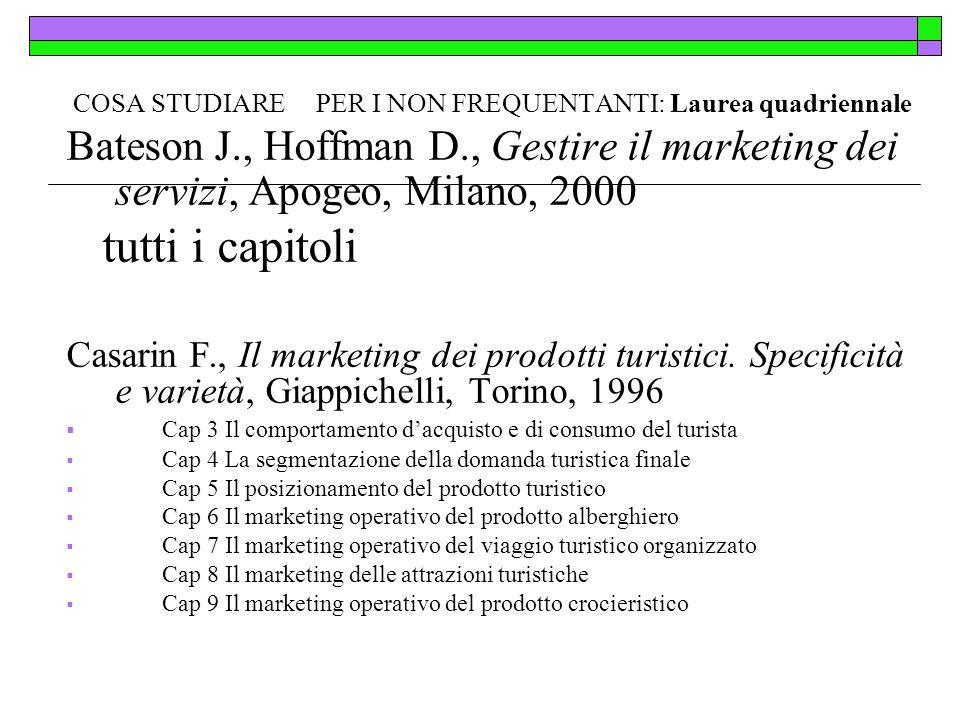 COSA STUDIARE PER I NON FREQUENTANTI: Laurea quadriennale Bateson J., Hoffman D., Gestire il marketing dei servizi, Apogeo, Milano, 2000 tutti i capit