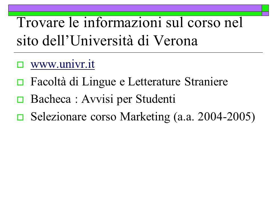 Trovare le informazioni sul corso nel sito dellUniversità di Verona www.univr.it Facoltà di Lingue e Letterature Straniere Bacheca : Avvisi per Studen
