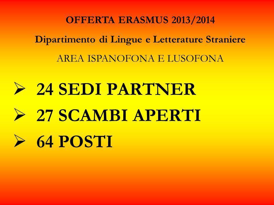 24 SEDI PARTNER 27 SCAMBI APERTI 64 POSTI OFFERTA ERASMUS 2013/2014 Dipartimento di Lingue e Letterature Straniere AREA ISPANOFONA E LUSOFONA