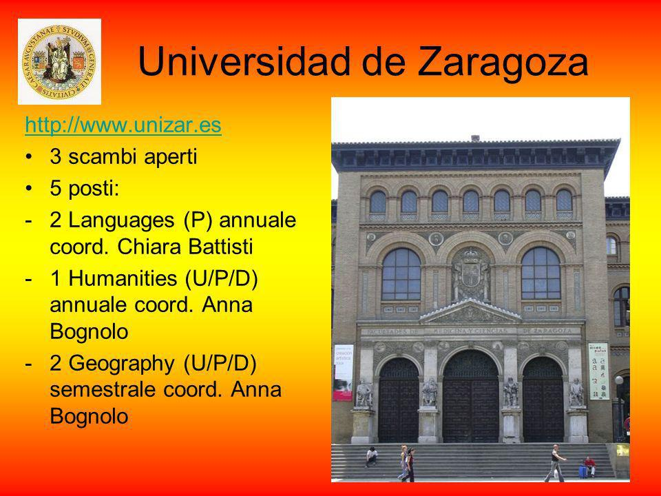 Universidad de Zaragoza http://www.unizar.es 3 scambi aperti 5 posti: -2 Languages (P) annuale coord. Chiara Battisti -1 Humanities (U/P/D) annuale co