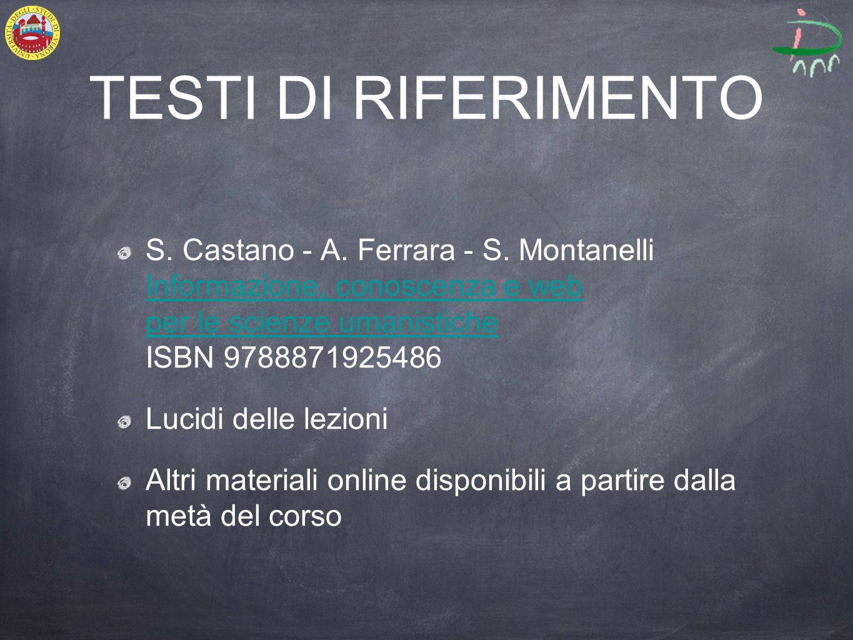 TESTI DI RIFERIMENTO S. Castano - A. Ferrara - S.