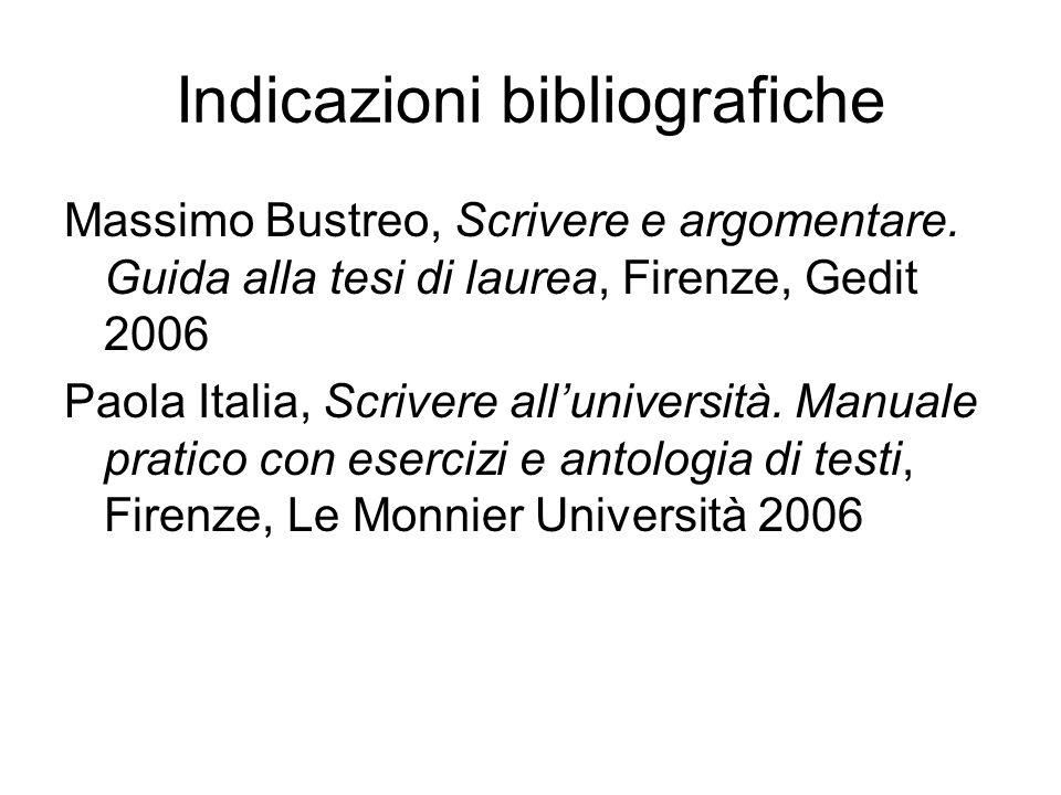 Indicazioni bibliografiche Massimo Bustreo, Scrivere e argomentare. Guida alla tesi di laurea, Firenze, Gedit 2006 Paola Italia, Scrivere alluniversit