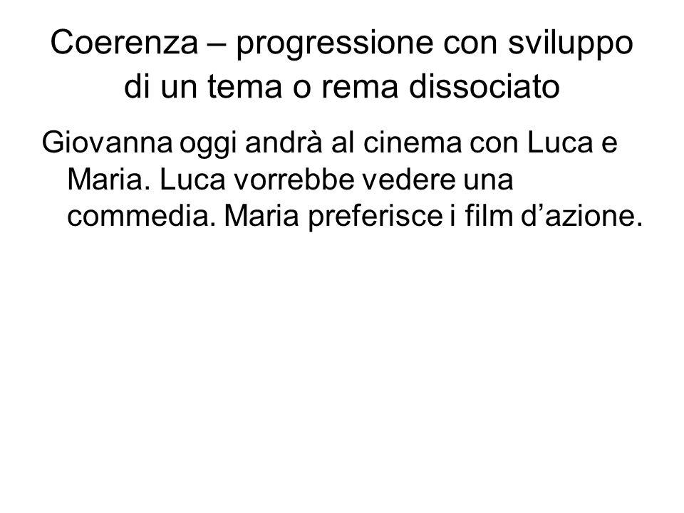Coerenza – progressione con sviluppo di un tema o rema dissociato Giovanna oggi andrà al cinema con Luca e Maria. Luca vorrebbe vedere una commedia. M