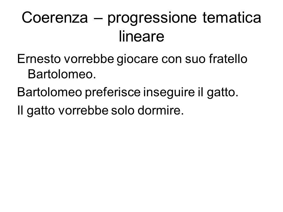 Coerenza – progressione tematica lineare Ernesto vorrebbe giocare con suo fratello Bartolomeo.