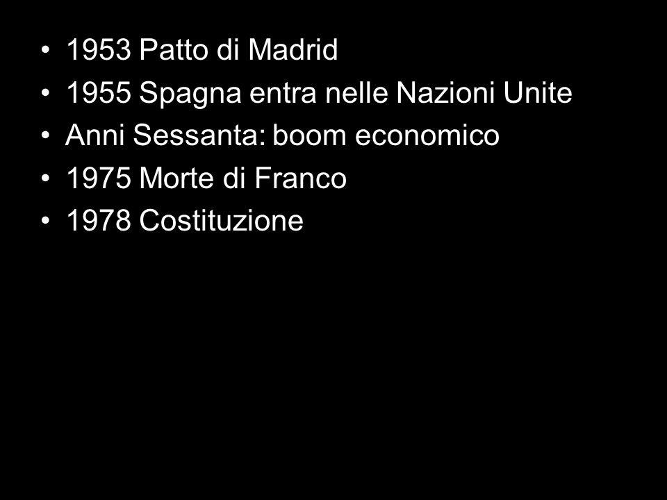 1953 Patto di Madrid 1955 Spagna entra nelle Nazioni Unite Anni Sessanta: boom economico 1975 Morte di Franco 1978 Costituzione