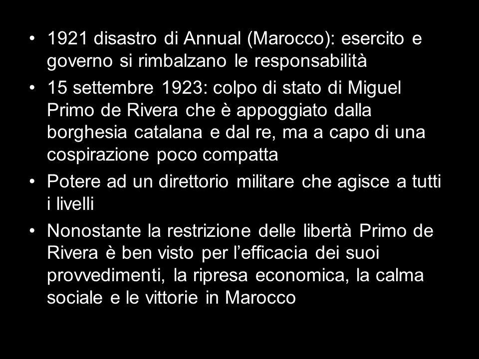 1921 disastro di Annual (Marocco): esercito e governo si rimbalzano le responsabilità 15 settembre 1923: colpo di stato di Miguel Primo de Rivera che