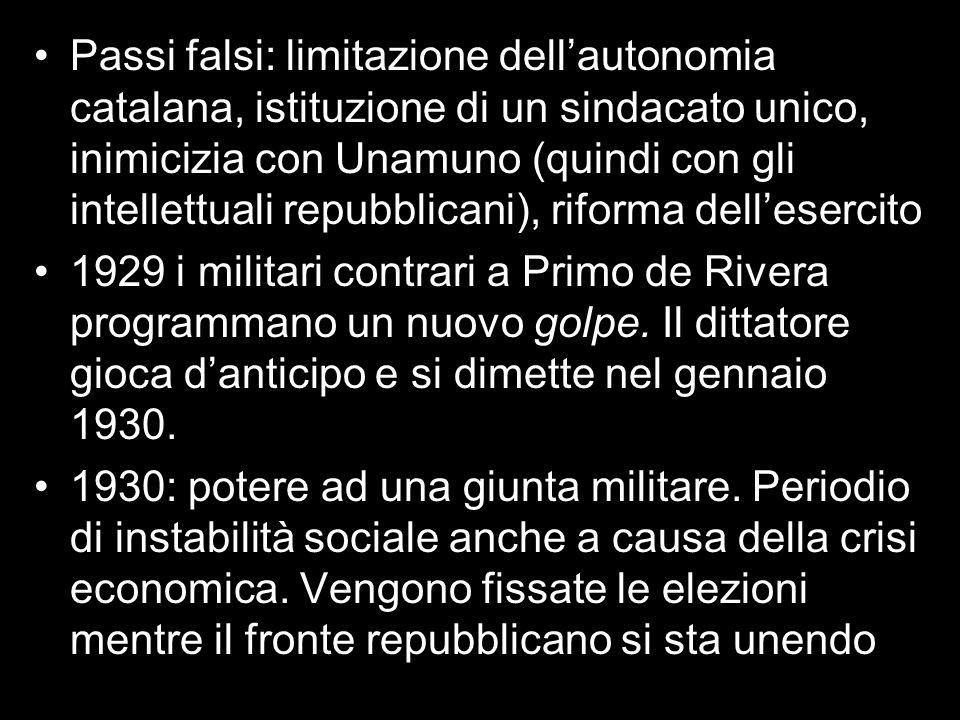 Passi falsi: limitazione dellautonomia catalana, istituzione di un sindacato unico, inimicizia con Unamuno (quindi con gli intellettuali repubblicani)