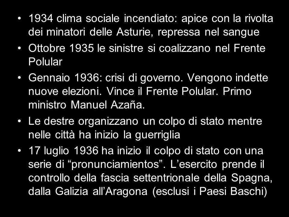 1934 clima sociale incendiato: apice con la rivolta dei minatori delle Asturie, repressa nel sangue Ottobre 1935 le sinistre si coalizzano nel Frente