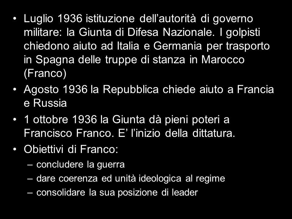 Luglio 1936 istituzione dellautorità di governo militare: la Giunta di Difesa Nazionale. I golpisti chiedono aiuto ad Italia e Germania per trasporto