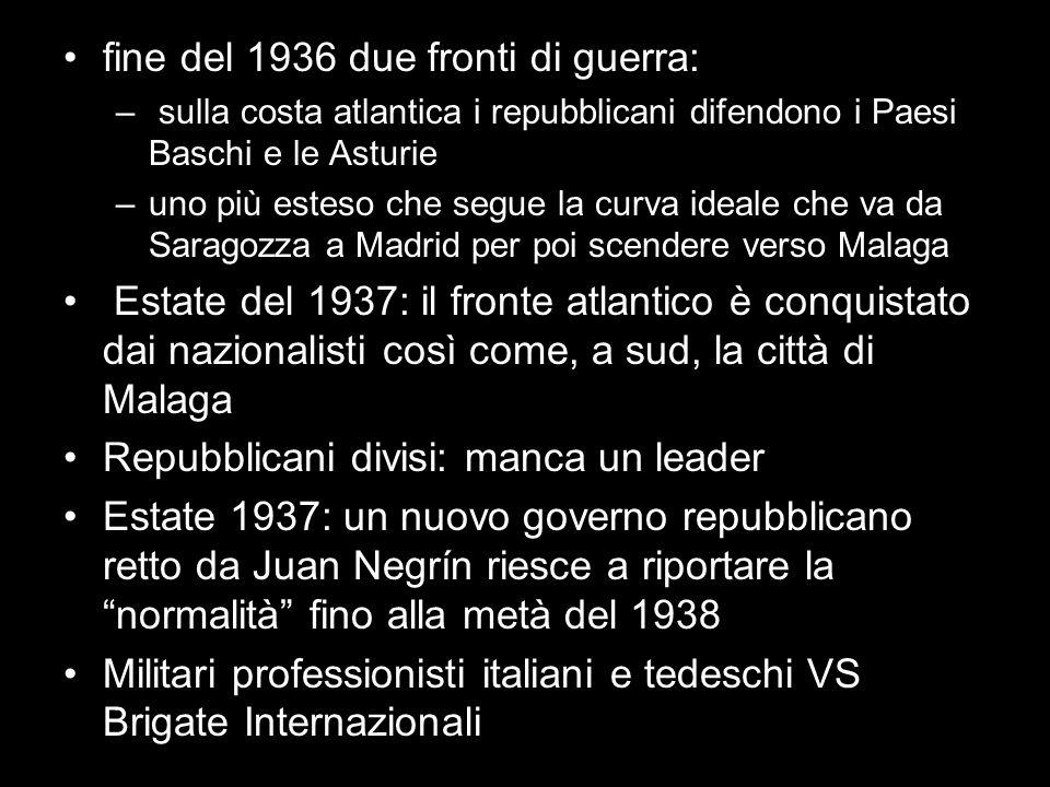 fine del 1936 due fronti di guerra: – sulla costa atlantica i repubblicani difendono i Paesi Baschi e le Asturie –uno più esteso che segue la curva id