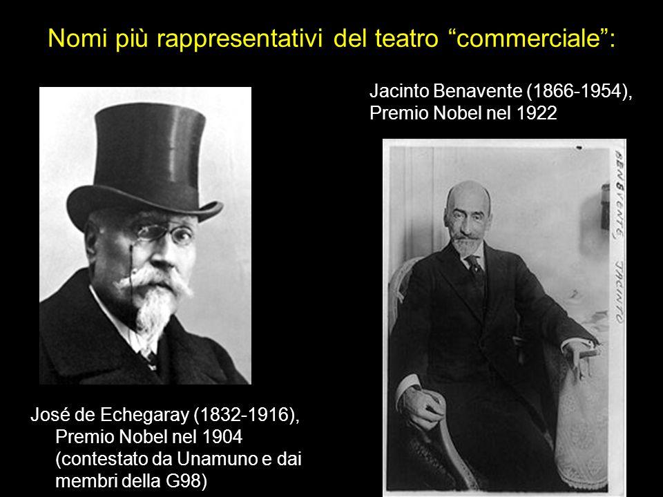 Nomi più rappresentativi del teatro commerciale: José de Echegaray (1832-1916), Premio Nobel nel 1904 (contestato da Unamuno e dai membri della G98) J