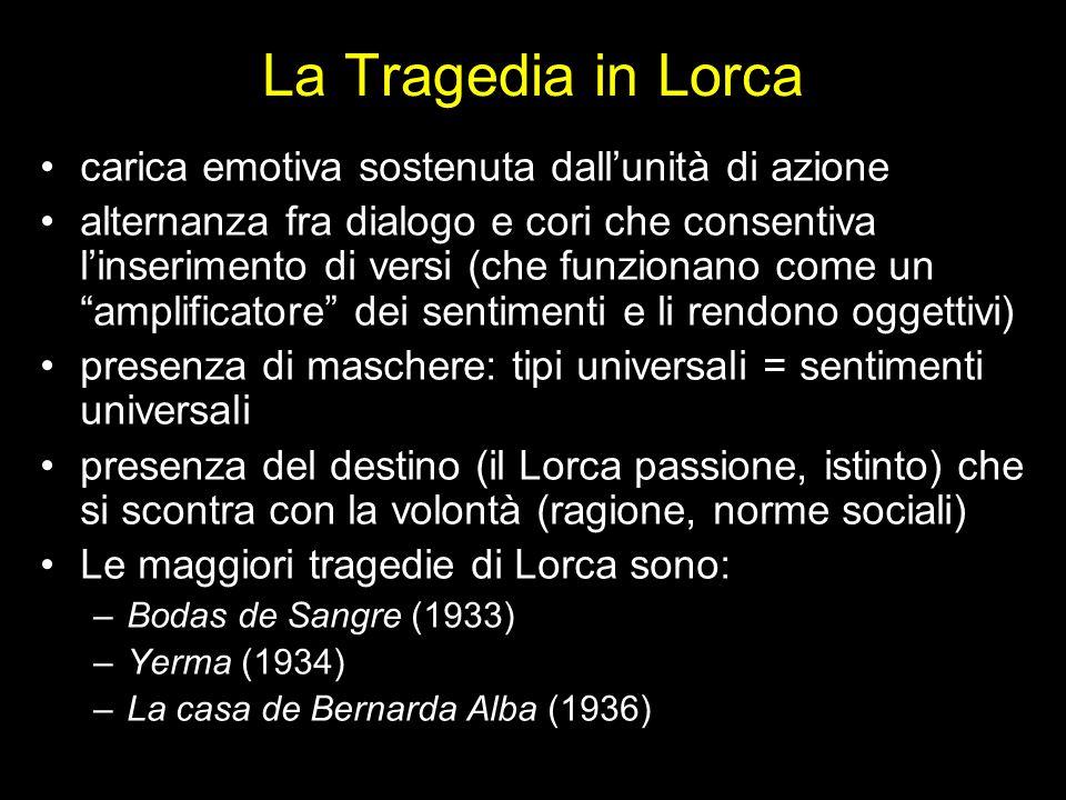 La Tragedia in Lorca carica emotiva sostenuta dallunità di azione alternanza fra dialogo e cori che consentiva linserimento di versi (che funzionano c