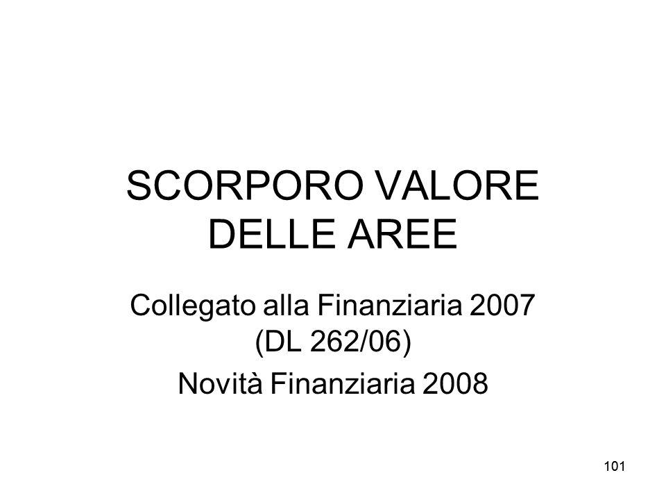 101 SCORPORO VALORE DELLE AREE Collegato alla Finanziaria 2007 (DL 262/06) Novità Finanziaria 2008