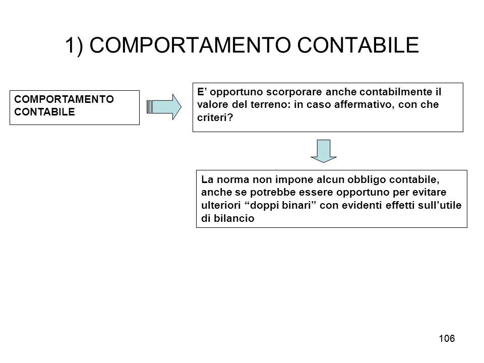 106 1) COMPORTAMENTO CONTABILE COMPORTAMENTO CONTABILE E opportuno scorporare anche contabilmente il valore del terreno: in caso affermativo, con che