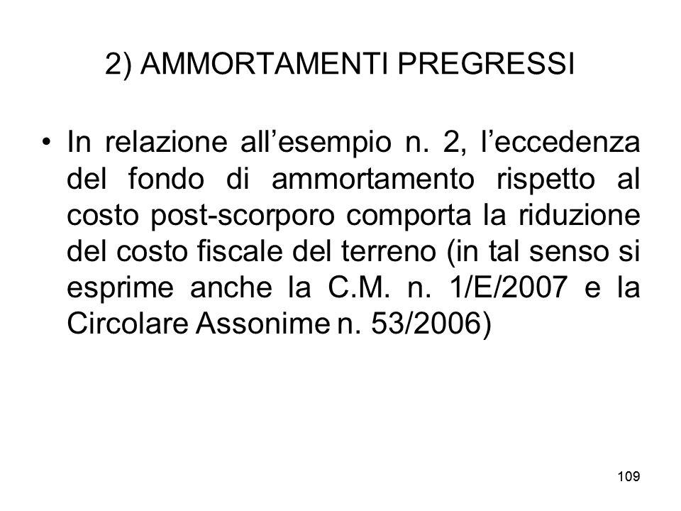 109 2) AMMORTAMENTI PREGRESSI In relazione allesempio n. 2, leccedenza del fondo di ammortamento rispetto al costo post-scorporo comporta la riduzione