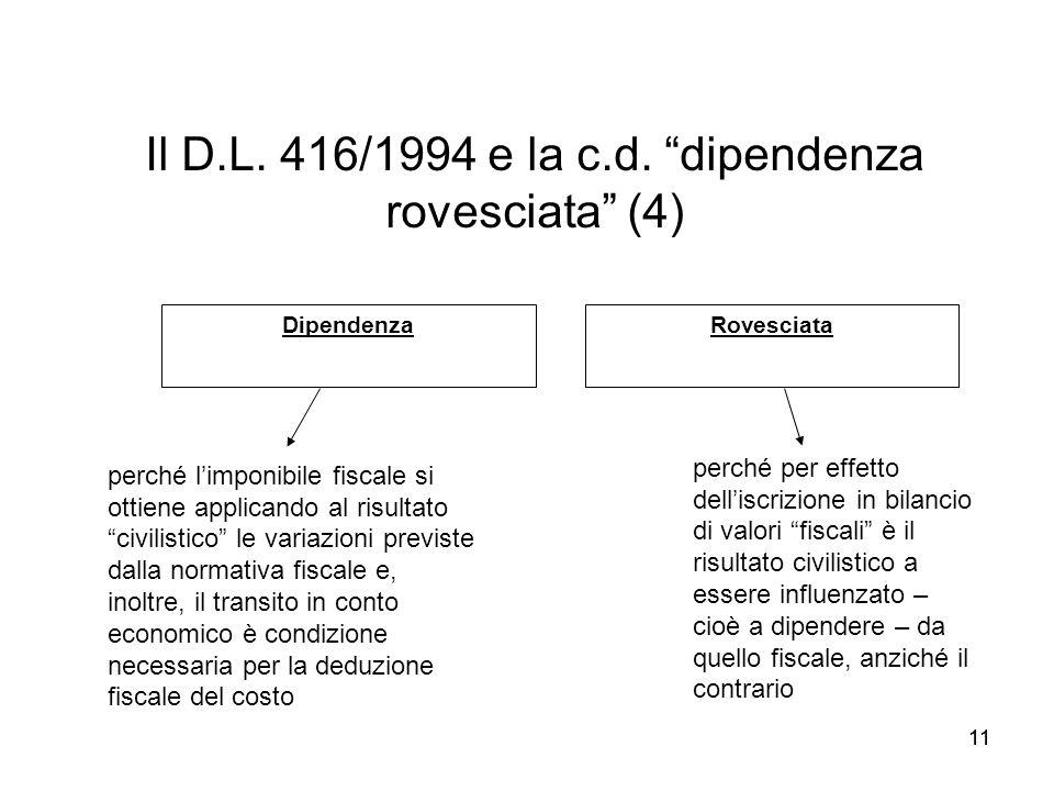 11 Il D.L. 416/1994 e la c.d. dipendenza rovesciata (4) perché limponibile fiscale si ottiene applicando al risultato civilistico le variazioni previs