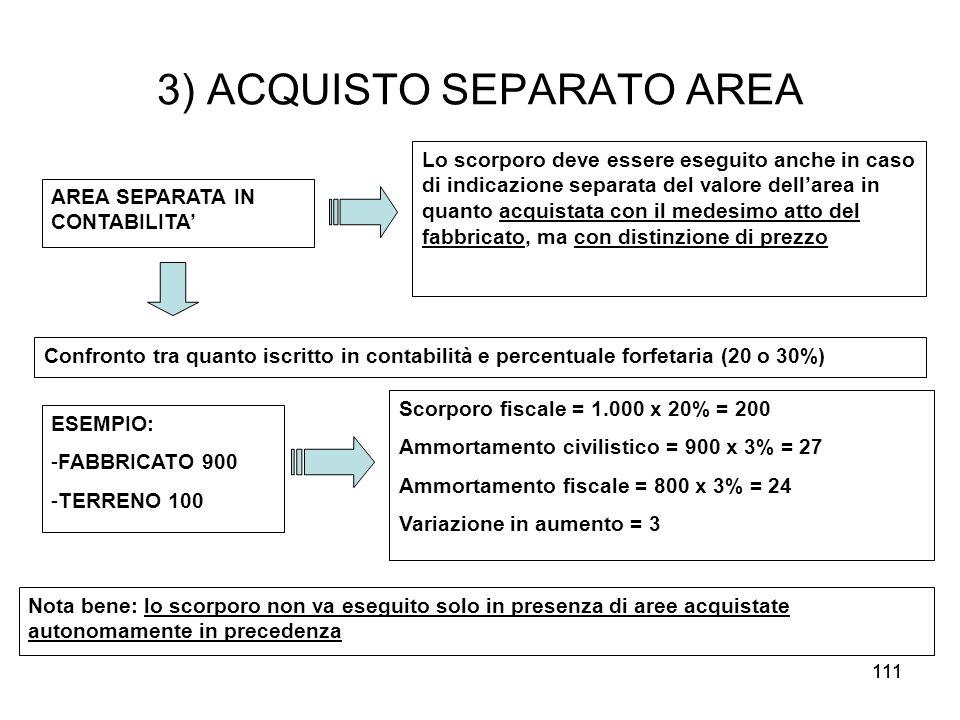 111 3) ACQUISTO SEPARATO AREA AREA SEPARATA IN CONTABILITA Lo scorporo deve essere eseguito anche in caso di indicazione separata del valore dellarea