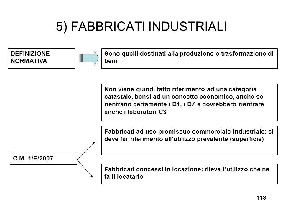 113 5) FABBRICATI INDUSTRIALI DEFINIZIONE NORMATIVA Sono quelli destinati alla produzione o trasformazione di beni Non viene quindi fatto riferimento