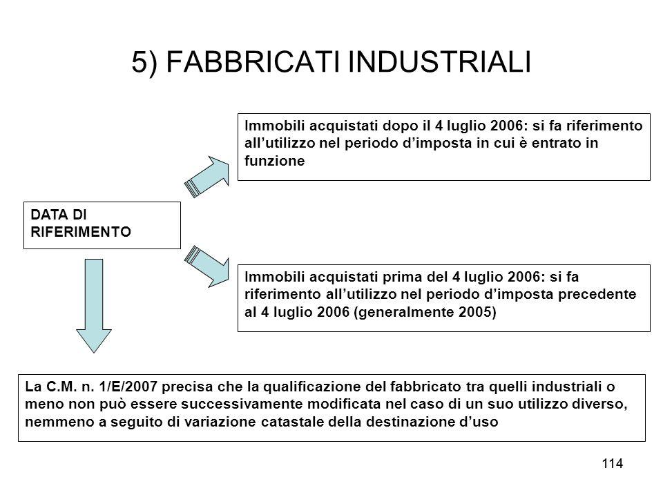 114 5) FABBRICATI INDUSTRIALI DATA DI RIFERIMENTO Immobili acquistati dopo il 4 luglio 2006: si fa riferimento allutilizzo nel periodo dimposta in cui