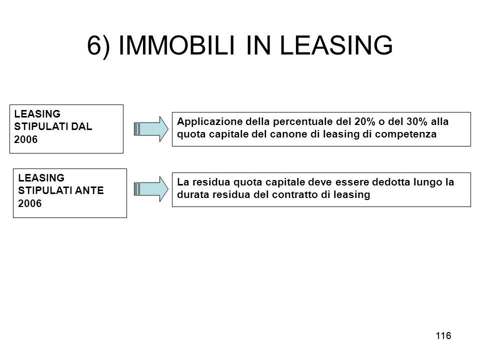 116 6) IMMOBILI IN LEASING LEASING STIPULATI DAL 2006 Applicazione della percentuale del 20% o del 30% alla quota capitale del canone di leasing di co