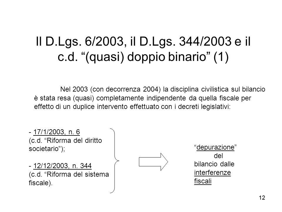 12 Il D.Lgs. 6/2003, il D.Lgs. 344/2003 e il c.d. (quasi) doppio binario (1) - 17/1/2003, n. 6 (c.d. Riforma del diritto societario); - 12/12/2003, n.