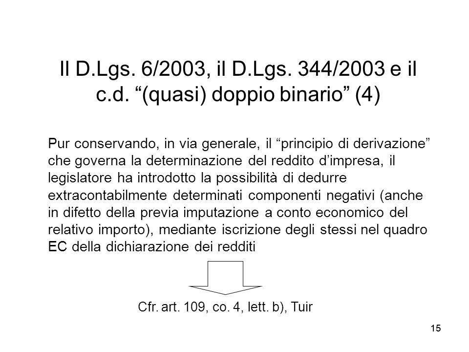 15 Il D.Lgs. 6/2003, il D.Lgs. 344/2003 e il c.d. (quasi) doppio binario (4) Cfr. art. 109, co. 4, lett. b), Tuir Pur conservando, in via generale, il