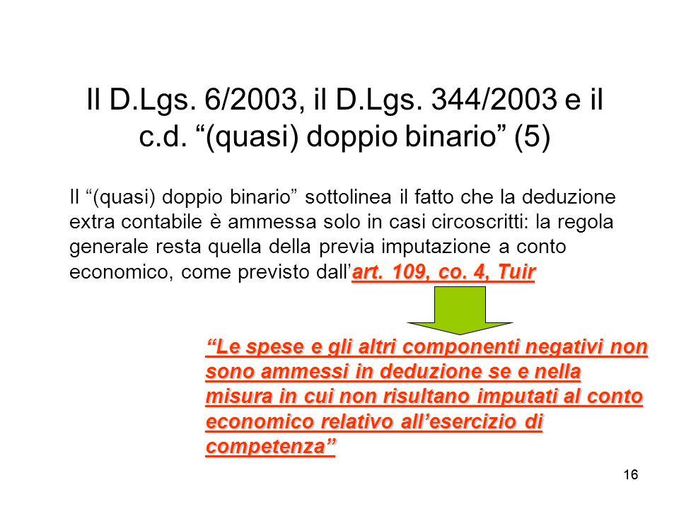 16 Il D.Lgs. 6/2003, il D.Lgs. 344/2003 e il c.d. (quasi) doppio binario (5) Le spese e gli altri componenti negativi non sono ammessi in deduzione se