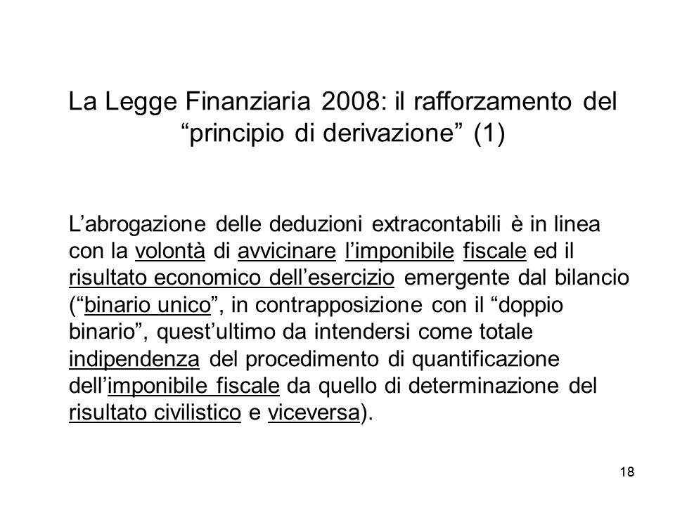 18 La Legge Finanziaria 2008: il rafforzamento del principio di derivazione (1) Labrogazione delle deduzioni extracontabili è in linea con la volontà