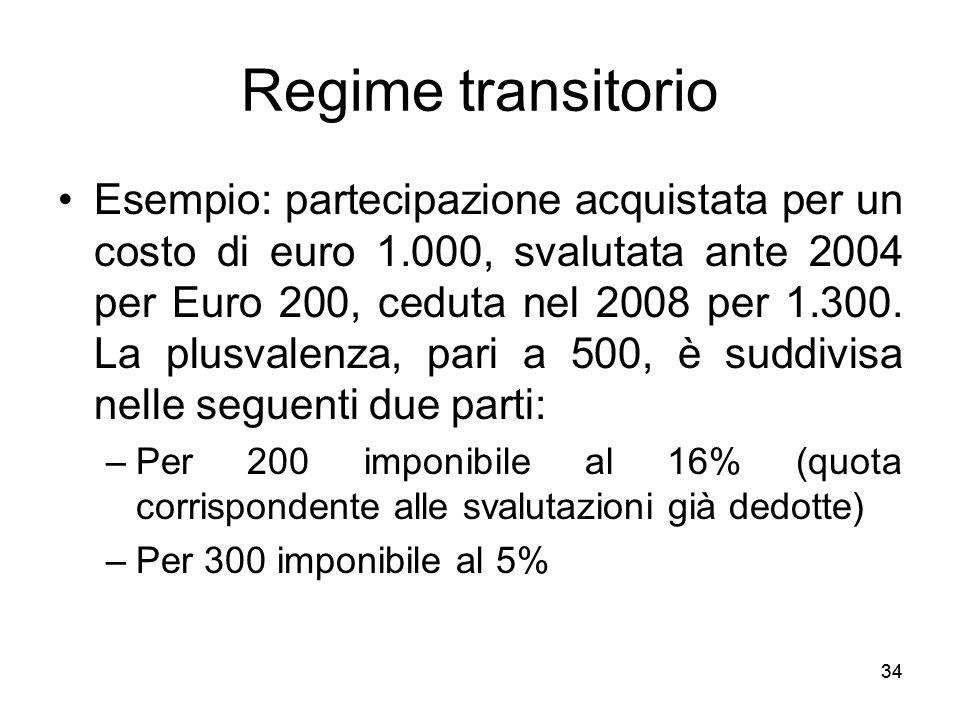 34 Regime transitorio Esempio: partecipazione acquistata per un costo di euro 1.000, svalutata ante 2004 per Euro 200, ceduta nel 2008 per 1.300. La p