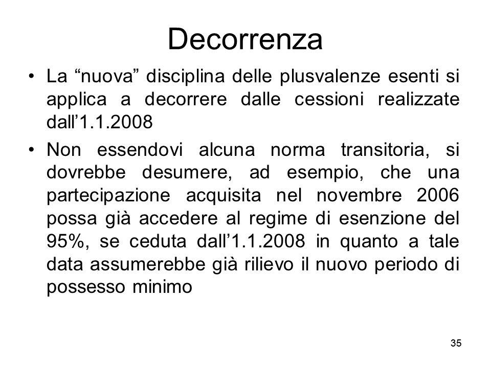 35 Decorrenza La nuova disciplina delle plusvalenze esenti si applica a decorrere dalle cessioni realizzate dall1.1.2008 Non essendovi alcuna norma tr