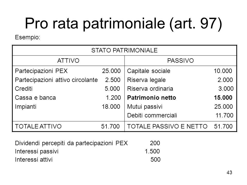 43 Pro rata patrimoniale (art. 97) Esempio: Dividendi percepiti da partecipazioni PEX 200 Interessi passivi 1.500 Interessi attivi 500 STATO PATRIMONI