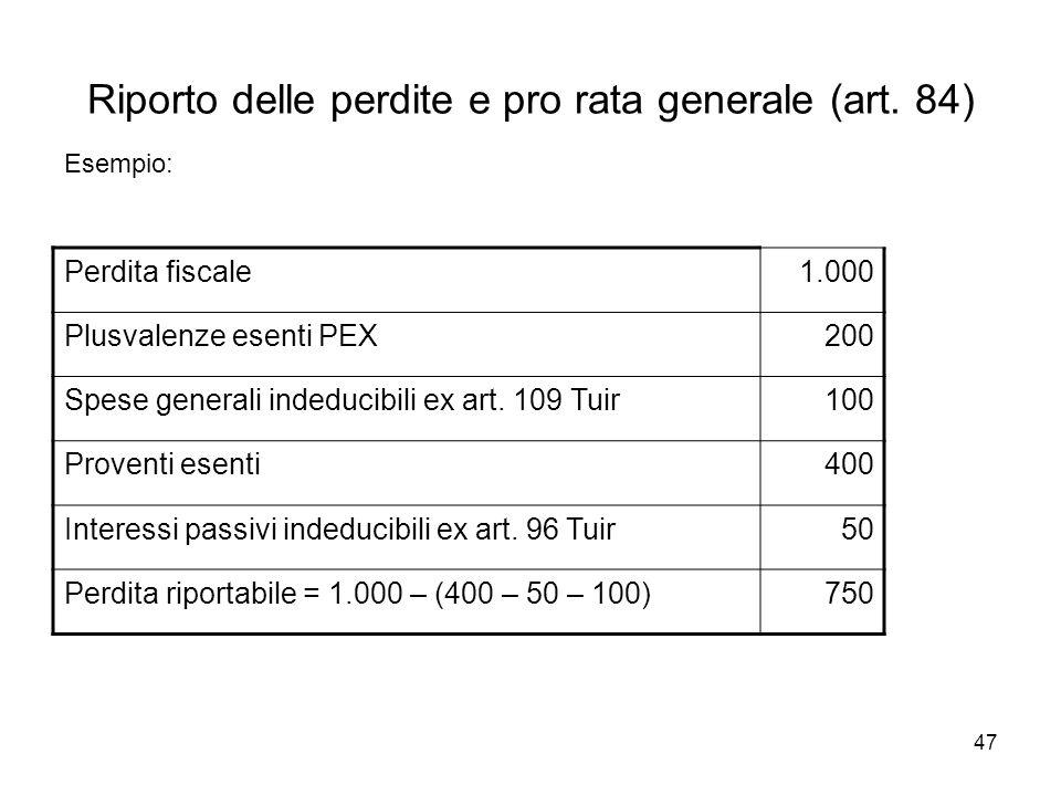 47 Riporto delle perdite e pro rata generale (art. 84) Esempio: Perdita fiscale1.000 Plusvalenze esenti PEX200 Spese generali indeducibili ex art. 109