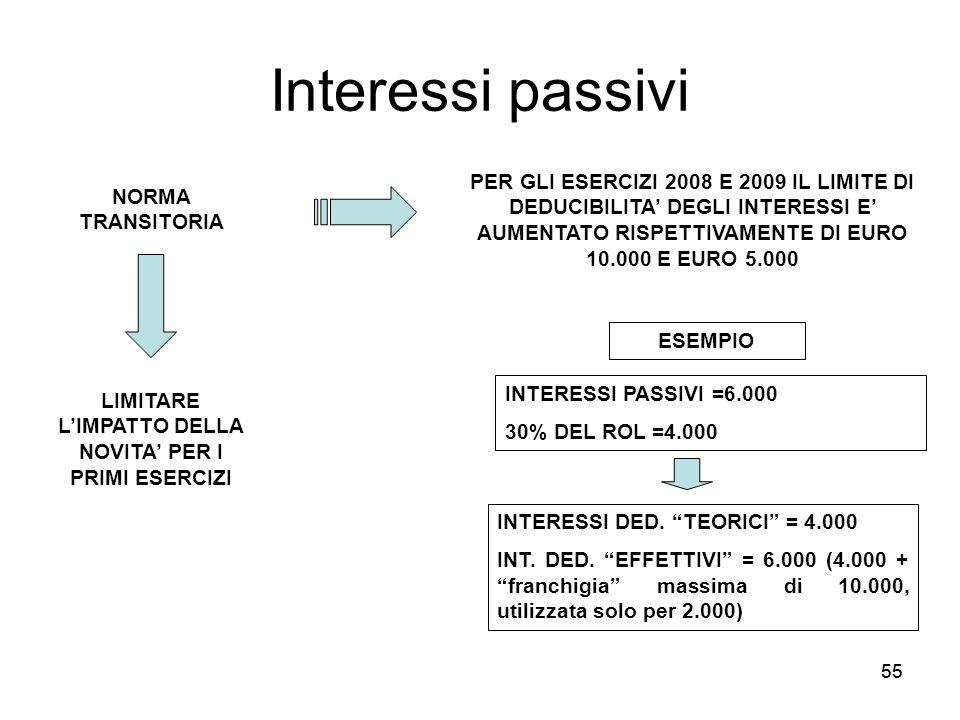 55 Interessi passivi NORMA TRANSITORIA PER GLI ESERCIZI 2008 E 2009 IL LIMITE DI DEDUCIBILITA DEGLI INTERESSI E AUMENTATO RISPETTIVAMENTE DI EURO 10.0