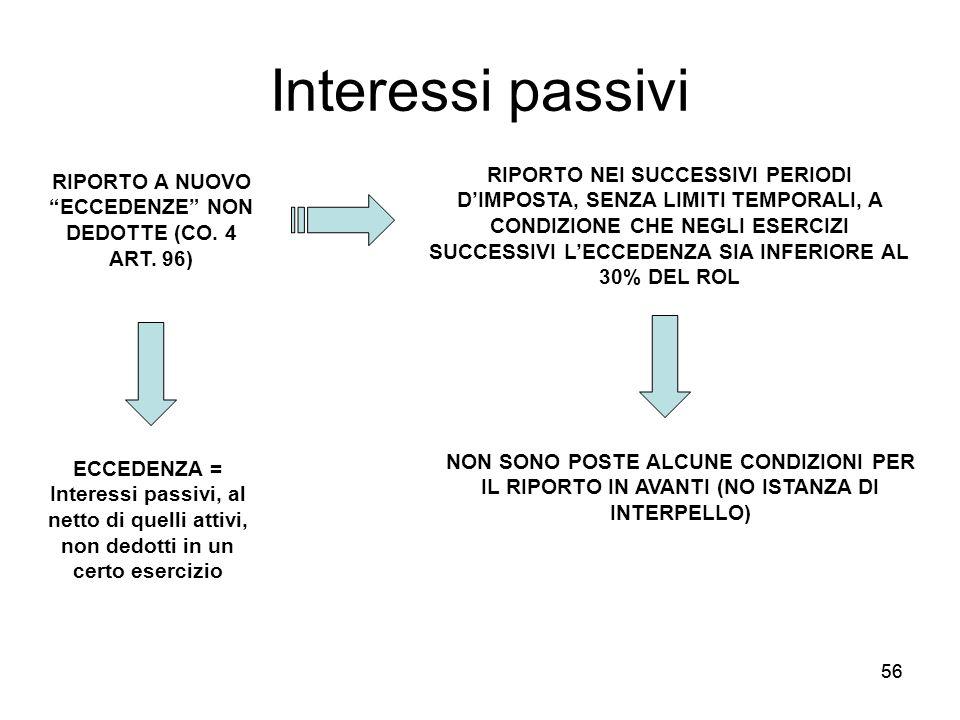 56 Interessi passivi RIPORTO A NUOVO ECCEDENZE NON DEDOTTE (CO. 4 ART. 96) ECCEDENZA = Interessi passivi, al netto di quelli attivi, non dedotti in un
