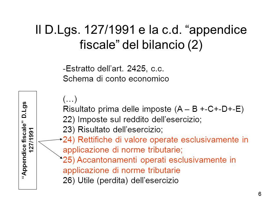 66 Il D.Lgs. 127/1991 e la c.d. appendice fiscale del bilancio (2) -Estratto dellart. 2425, c.c. Schema di conto economico (…) Risultato prima delle i