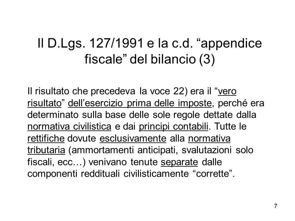 77 Il D.Lgs. 127/1991 e la c.d. appendice fiscale del bilancio (3) Il risultato che precedeva la voce 22) era il vero risultato dellesercizio prima de