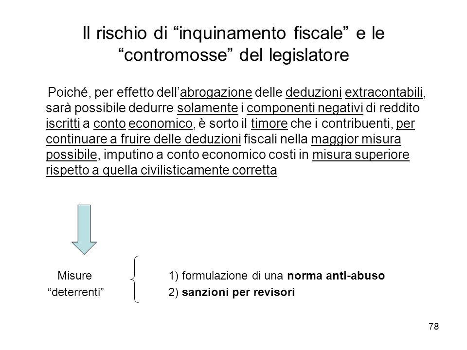 78 Il rischio di inquinamento fiscale e le contromosse del legislatore Poiché, per effetto dellabrogazione delle deduzioni extracontabili, sarà possib