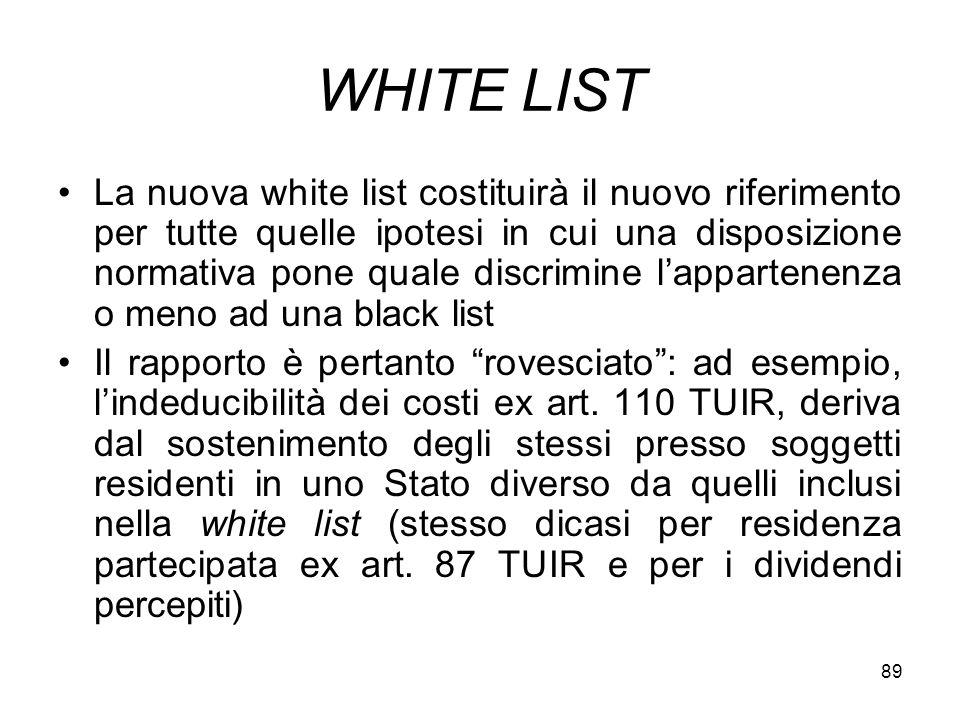 89 WHITE LIST La nuova white list costituirà il nuovo riferimento per tutte quelle ipotesi in cui una disposizione normativa pone quale discrimine lap