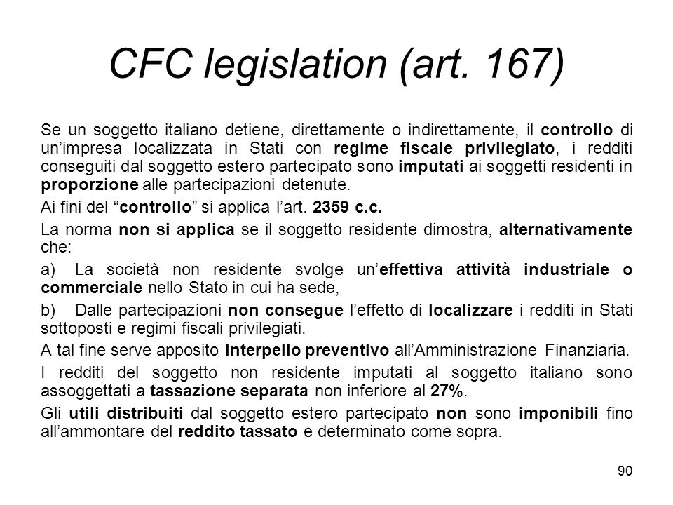 90 CFC legislation (art.