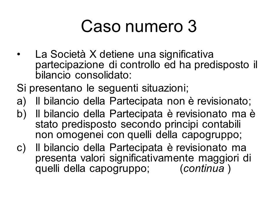Caso numero 3 La Società X detiene una significativa partecipazione di controllo ed ha predisposto il bilancio consolidato: Si presentano le seguenti