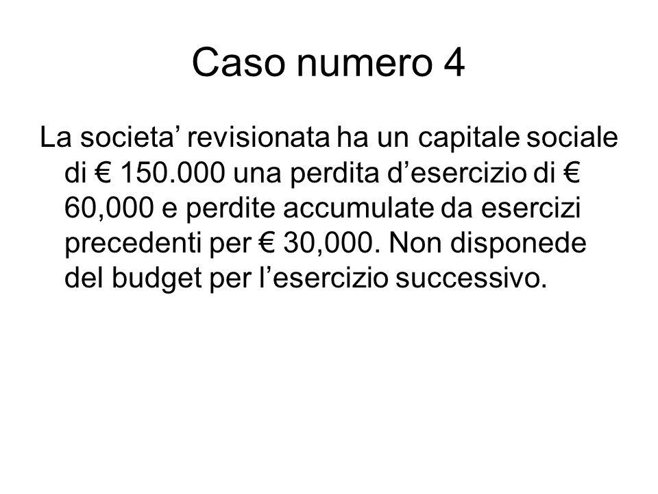 Caso numero 4 La societa revisionata ha un capitale sociale di 150.000 una perdita desercizio di 60,000 e perdite accumulate da esercizi precedenti per 30,000.