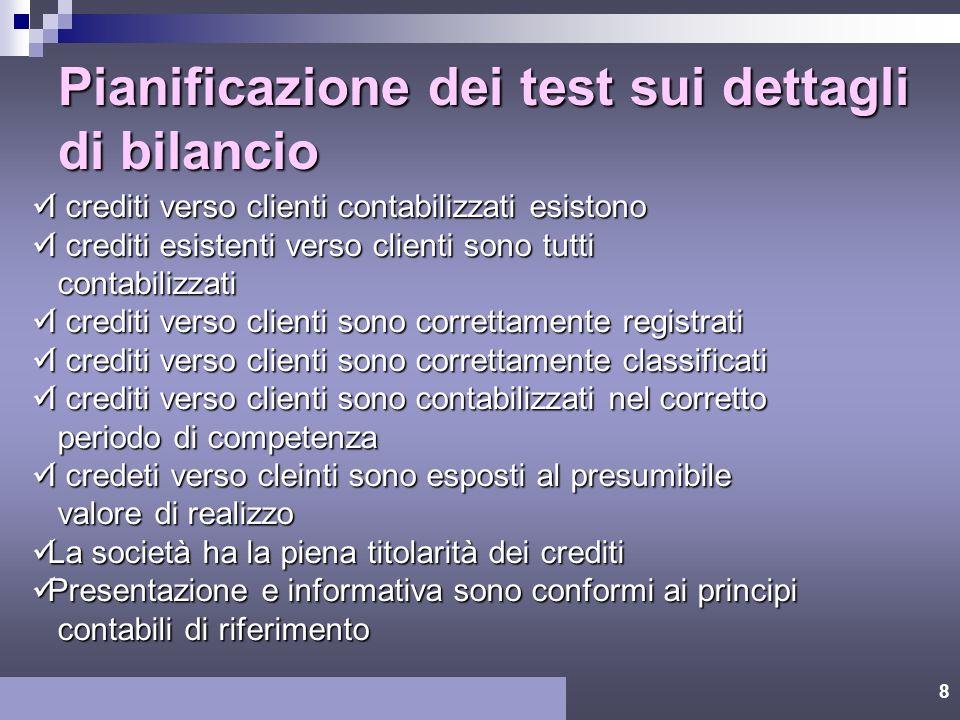 7 Rapporto tra obiettivi di revisione relativi alle transazioni e ai saldi di bilancio Presentazione e informativa Verifichepreliminari EsistenzaCompl