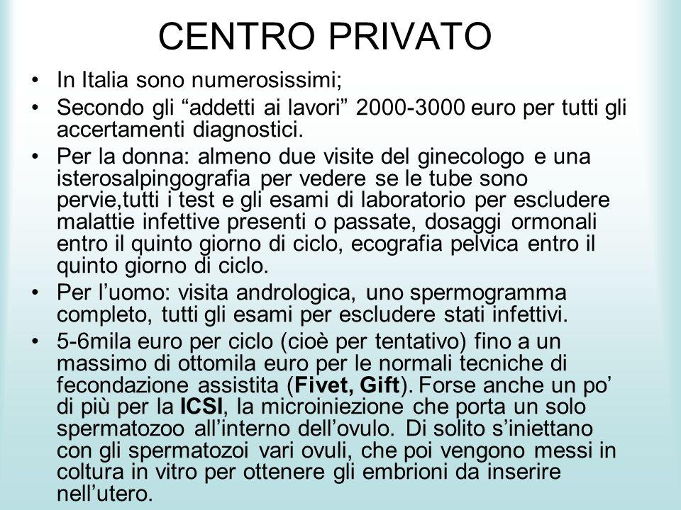 CENTRO PRIVATO In Italia sono numerosissimi; Secondo gli addetti ai lavori 2000-3000 euro per tutti gli accertamenti diagnostici. Per la donna: almeno