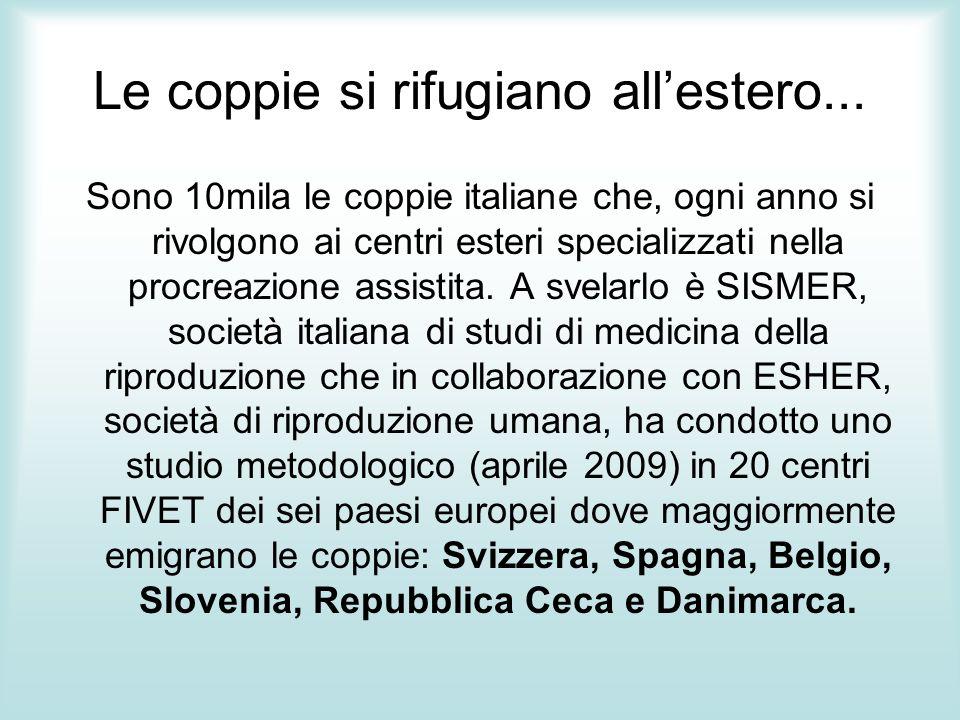 Sono 10mila le coppie italiane che, ogni anno si rivolgono ai centri esteri specializzati nella procreazione assistita. A svelarlo è SISMER, società i