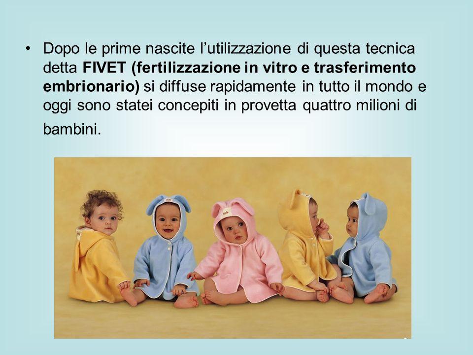 Dopo le prime nascite lutilizzazione di questa tecnica detta FIVET (fertilizzazione in vitro e trasferimento embrionario) si diffuse rapidamente in tu